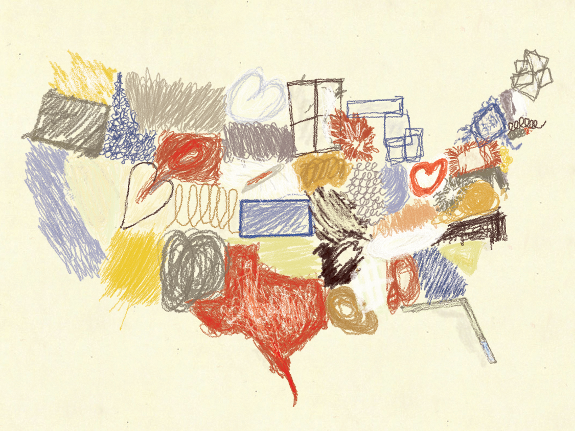 Bogus Art Map inspired by the style of Cy Twombly