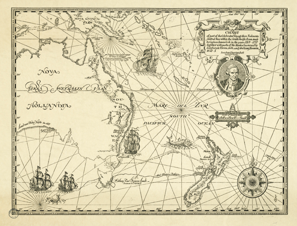 Figure 3. Map by James Emery for Kenneth Slessor's poem Five Visions of Captain Cook. Both the poem and illustration appear in Trio: A Book of Poems by Kenneth Slessor, Harley Matthews, Colin Simpson, and Raymond Lindsay (Sydney: Sunnybrook Press, 1931). Emery's map traces part of Cook's historic circumnavigation in the Endeavour and bears the title: Chart of part of the Celebrated Voyage thro. Vnknown Austral Seas within the South Pacific Ocean, made by Captain Iames Cook in the years 1769–1770 together with parts of the Routes traversed by Luiz Vaez de Torres, 1606, and Abel Iansz[oon] Tasman, 1642–3 [sic]. In addition to its portrait of James Cook and a scale of statute miles, the map features fanciful details from early- Modern charts—a compass rose, rhumb lines, wind-blowing heads, sailing ships, sea monsters, landfalls, and local interests (kangaroos and aboriginal hunters). Reproduced with permission of the Mitchell Library.