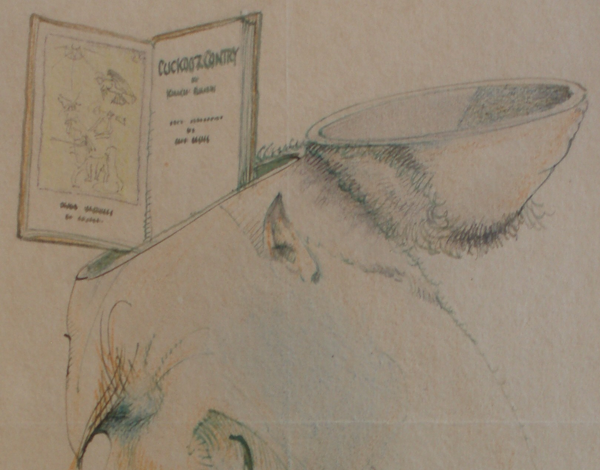 Figure 5. Detail of Hugh McCrae's mounted drawing, dated Dec 1932, congratulating Slessor on the publication of Cuckooz Contrey. A poet and illustrator who admired Slessor's work as much as Slessor admired his, McCrae drew Cuckooz Contrey—open to its title page and Lindsay's etching—as if it were sticking out of his own perfectly bisected head. Below the drawing, he wrote: Dear Ken—It has got into my head; and I can never get it out again. Don't want to…. All the congratulations in the world. H. McC (NLA MS 3020/27/1/17). Reproduced with the permission of Mrs. Janet Hay and the Manuscripts Branch of the National Library of Australia.