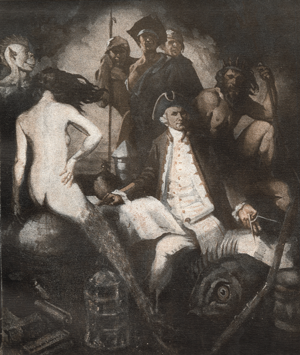 2. Illustration by Raymond Lindsay (the second of Norman Lindsay's sons) of Kenneth Slessor's poem Five Visions of Captain Cook. Both the poem and illustration appear in Trio: A Book of Poems by Kenneth Slessor, Harley Matthews, Colin Simpson, and Raymond Lindsay (Sydney: Sunnybrook Press, 1931). Lindsay depicted Captain Cook as seated, compass in one hand and an empty chart in the other. Surrounding him are three sailors, Neptune, a sea monster, and a mermaid astride the terraqueous globe. Raymond's signature appears on a scroll in the lower left. Reproduced with the permission of Rare Books and Manuscripts, Special Collections Library, the Pennsylvania State University Libraries.