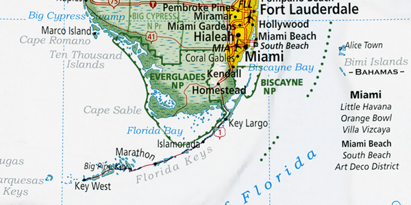 Figure 2: Highly contrasting hues and weights enhance the visual separation between the United States and near-shore water.