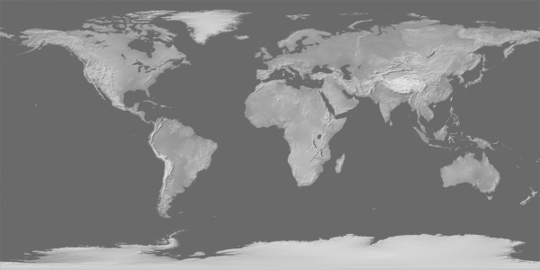 Figure 1. Basic version of Gray Earth with a supplemental ocean fill.