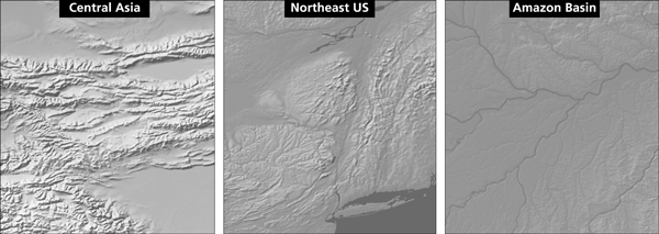 Figure 2. From left to right: high, medium and low relief as it appears in Gray Earth.