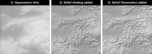 Figure 9. Light touch: Gray Earth combines hypsometric tints, relief shading, and relief illumination.