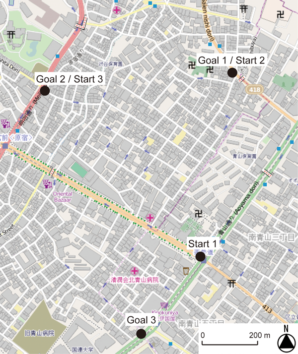 Figure 1: Map of the study area. Three pairs of start and goal locations were selected in the area. Participants walked between the locations in each pair using one of three navigation tools in counterbalanced order. © OpenStreetMap contributors. http://www.openstreetmap.org.