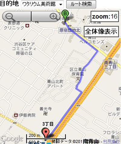 Figure 2: Information provided by navigation tools. (A) On the route tool, the user's current location (the symbol around the center of the screen) and a route to the goal (the solid line from the start, denoted by an A, toward the lower-left corner of the screen) were shown. (B) On the direction tool, the user's current location and the direction toward the goal (the blue arrow pointing to the lower-left corner of the screen) were shown. (C) A map for the whole area that was available upon request to users of the route tool in Experiment 2. (D) The device-screen map used in Experiment 2, with the stat and goal denoted by A and B. (Tools developed with Google Maps API. Map data © 2011 Google, ZENRIN.)