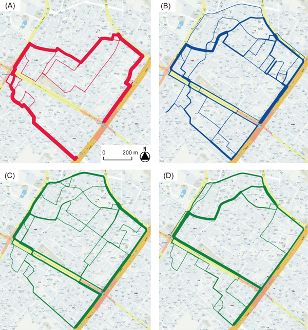 Figure 5: Maps showing the routes that participants took when using (A) the route tool, (B) the direction tool, (C) the paper map (in Experiment 1), and (D) the device-screen map (in Experiment 2). The thickness of the lines is proportional to the number of participants who traveled each route.
