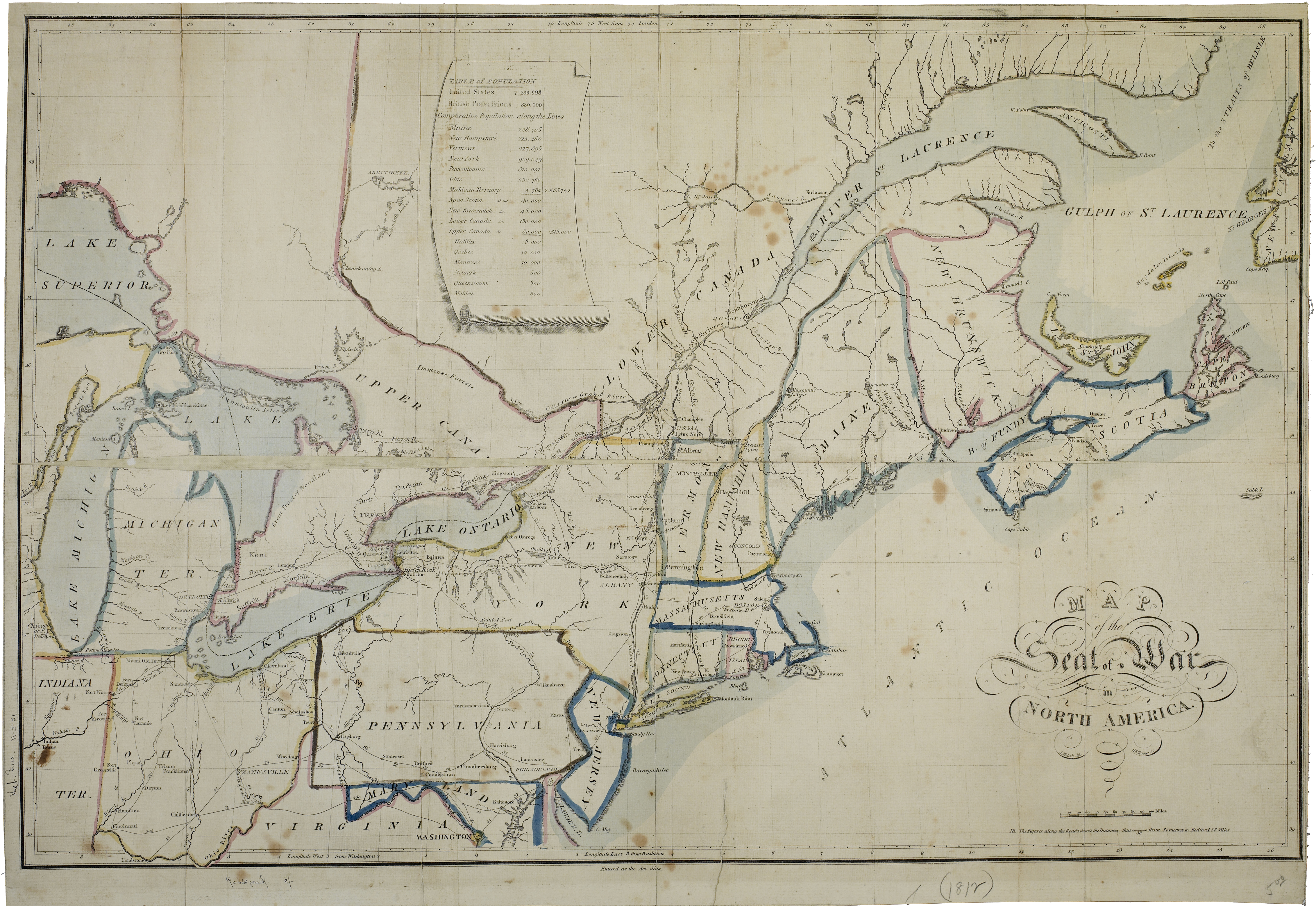 Map Of America In 1812.View Of Maps As The Art Of Necessity The Lilly Library War Of 1812