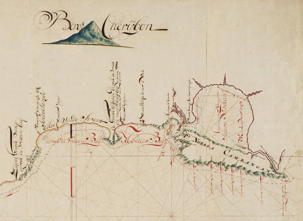 Figure 2. This section of the manuscript sea chart drawn by Cornelius Coops in 1698 is the earliest known map of the Segara Anakan lagoon. Original scale: approx. 1:140,000. Retrieved from the Netherlands National Archives in The Hague.