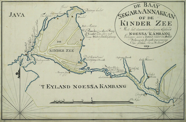 Figure 3. Map of the Segara Anakan lagoon, drawn by Jan Theunis Busscher in 1809. Original scale: 1:76,000. Retrieved from the Netherlands National Archives in The Hague.