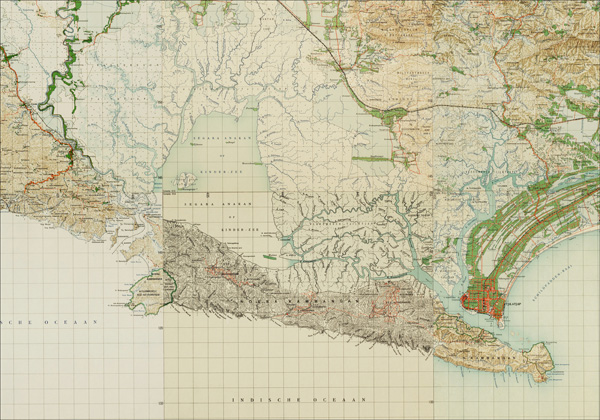 Figure 7. Topographic map of Java, Middle and West Java, produced by TDNI, mainly based on surveys carried out between 1924 and 1926. Compilation of sections of map sheets 42/XLI D, 43/XLI C, 43/XLI D, 42/XLII B, 43/XLII A, 43/XLI D. Original scale: 1:50,000. Retrieved from KIT.