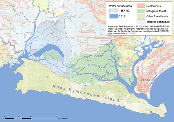 Figure 9. Change in the water surface area of the Segara Anakan lagoon between 1857/60 and 2013. Most of the silted-up area is presently covered by (partly degraded) mangroves and shrubs, (partly abandoned) aquaculture ponds, agricultural fields, and settlements (c.f. Ardli and Wolff [2009]).