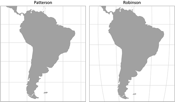 Figure 2. Excerpts of world maps with the same width centered on 0 north, 60 west. The proportions of South America on the Patterson projection are similar to that of the Robinson, a pseudocylindrical projection.