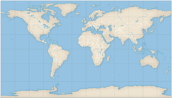 Figure 6. Map with the Patterson projection created with Flex Projector using Natural Earth 110m vector data.