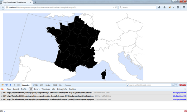View of Interactive and Multivariate Choropleth Maps with D3