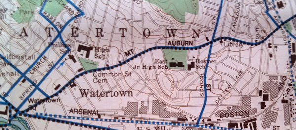 """Figure 2. A map from Boston uses dense, fine contour lines to show topography. Blue lines show """"bike routes"""" (BikeMaps Massachussetts 1994)."""
