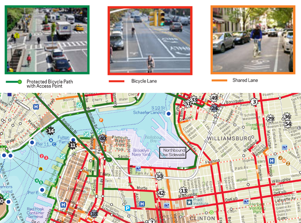 Figure 3. New York City has enough bicycle infrastructure to populate a map with objective content (City of New York 2012).