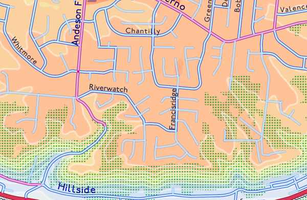 Figure 9. A suburban area showing the relative deemphasis of dead-ending street segments. The internal color of the line (showing speed) remains the same, but the contrasting border on the line is diminished, yielding a low value-contrast between the street and the elevation background.