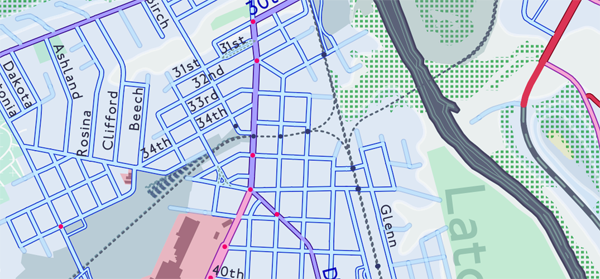 Figure 11. Section showing traffic signals (red dots) and at-grade railroad crossings (grey dots).