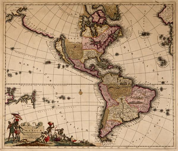 Figure 3. Recentissima Novi Orbis Sive Americae Septentrionalis et Meridionalis Tabula, cartographer Justus Danckerts, 1690.
