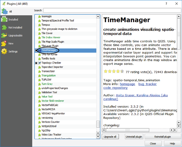 Figure 2. The QGIS Plugins menu, from which the TimeManager plugin is added.