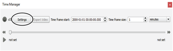 Figure 3. The QGIS TimeManager toolbar. The Settings button is used to access the layer selection dialog.