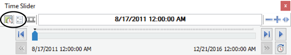 Figure 7. The Enable Time button and Time Slider Options buttons, indicated on the Time Slider toolbar.
