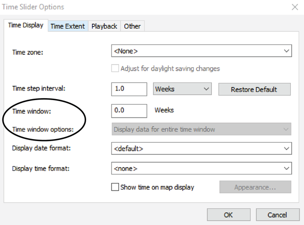 Figure 8. ArcGIS Time Slider Options dialog box with the Time Window options circled.