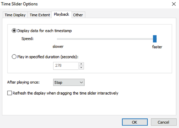 Figure 10. The ArcGIS Time Slider Playback tab allows speed, duration, repeat, and refresh settings to be changed.