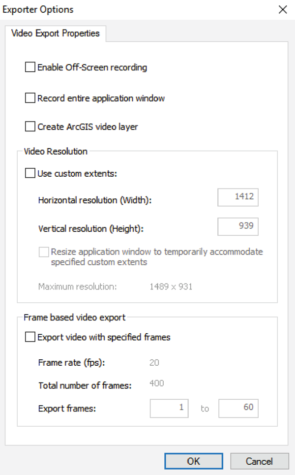 Figure 15. Additional video format settings within Esri's Time Slider Export Video dialog.