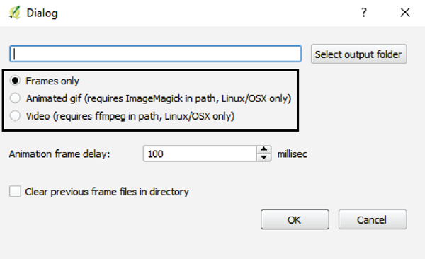 Figure 16. The QGIS TimeManager Export Video Dialog box, with the export format choices indicated.