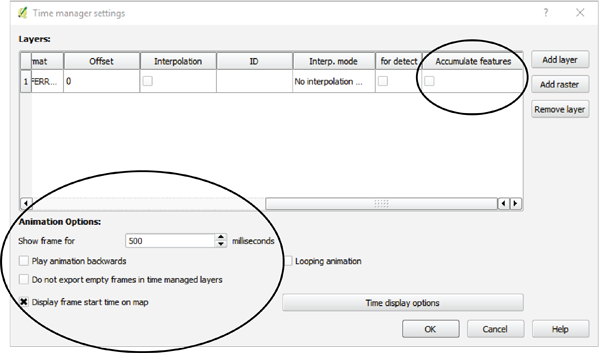 Figure 11. Animation options within the TimeManager plug-in.